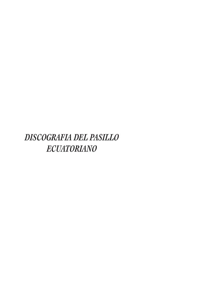 Discografia Del Pasillo Ecuatoriano