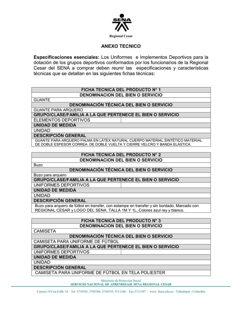 ANEXO TECNICO Especificaciones esenciales  Los Uniformes e df97a88244856