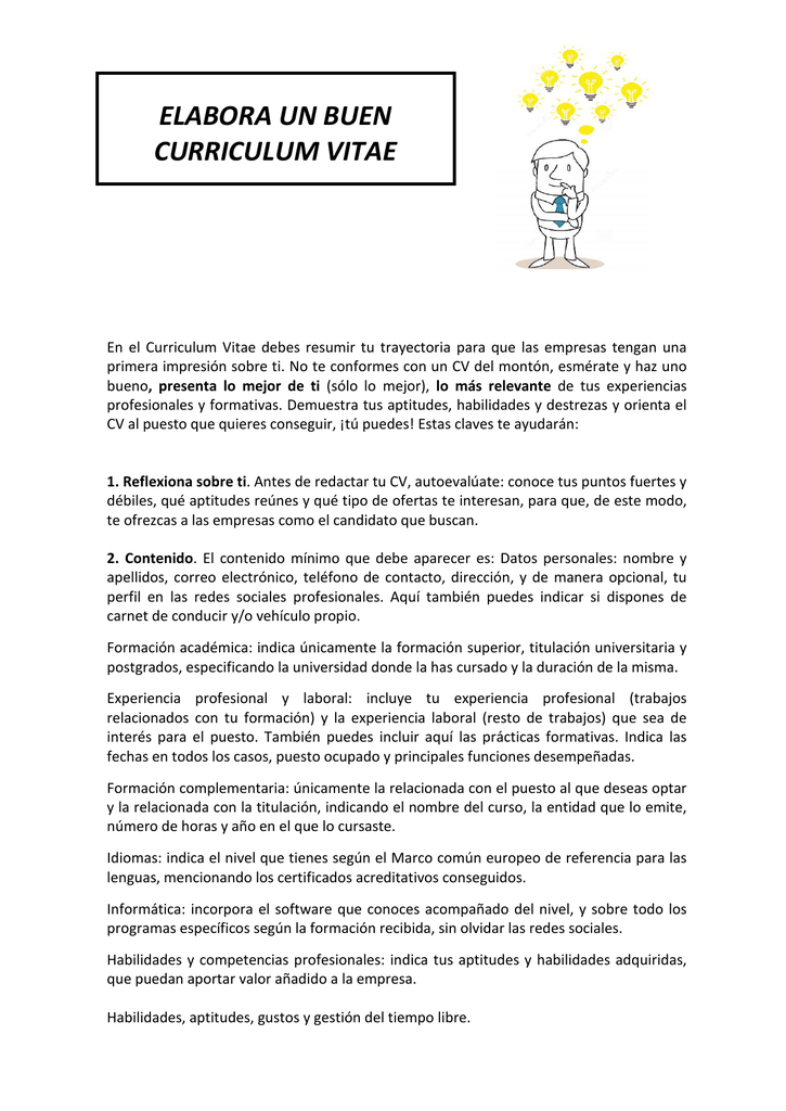 Elaboracion De Un Curriculum