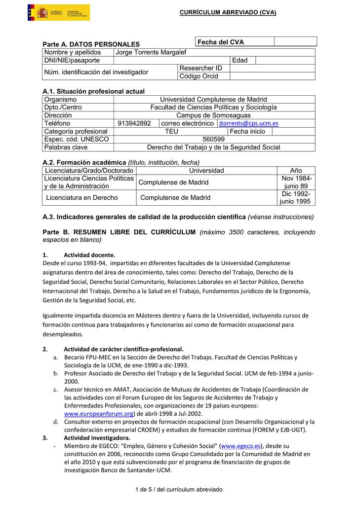 Curriculum Vitae - Universidad Complutense de Madrid