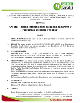 """Al 5to. Torneo internacional de pesca deportiva y recreativa de"