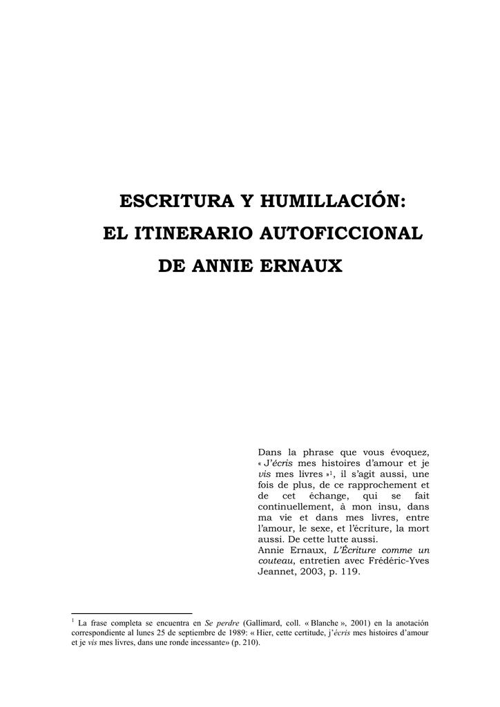 Escritura y humillación: el itinerario autoficcional de Annie Ernaux