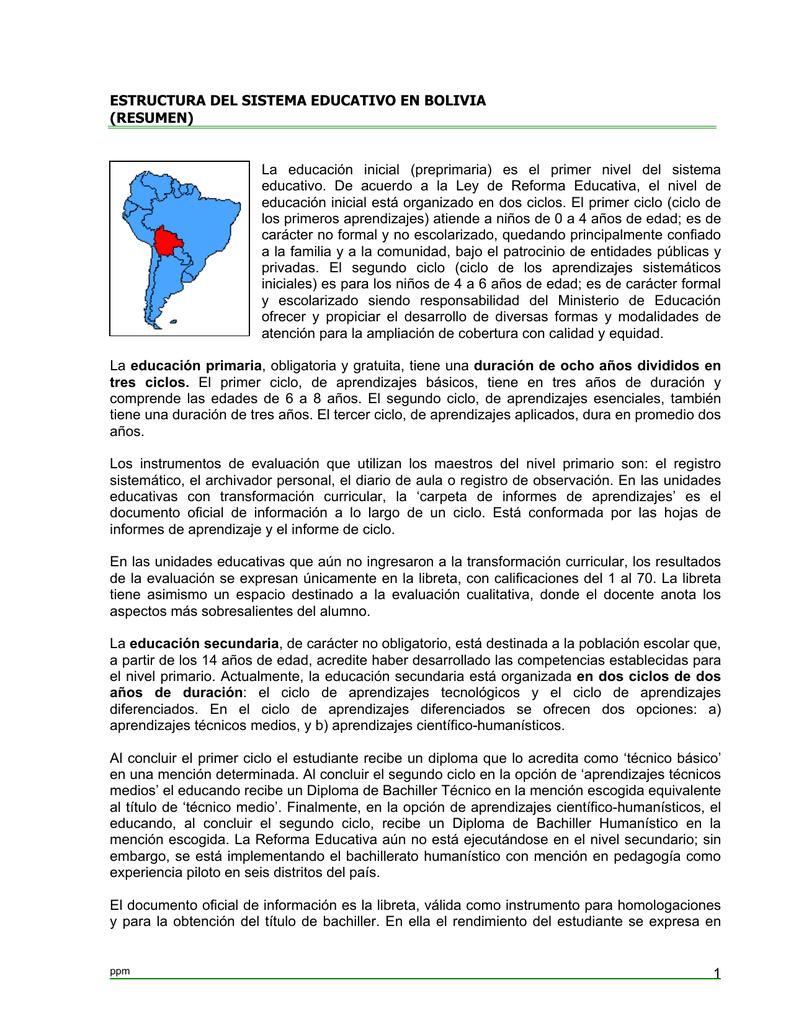Estructura Del Sistema Educativo En Bolivia