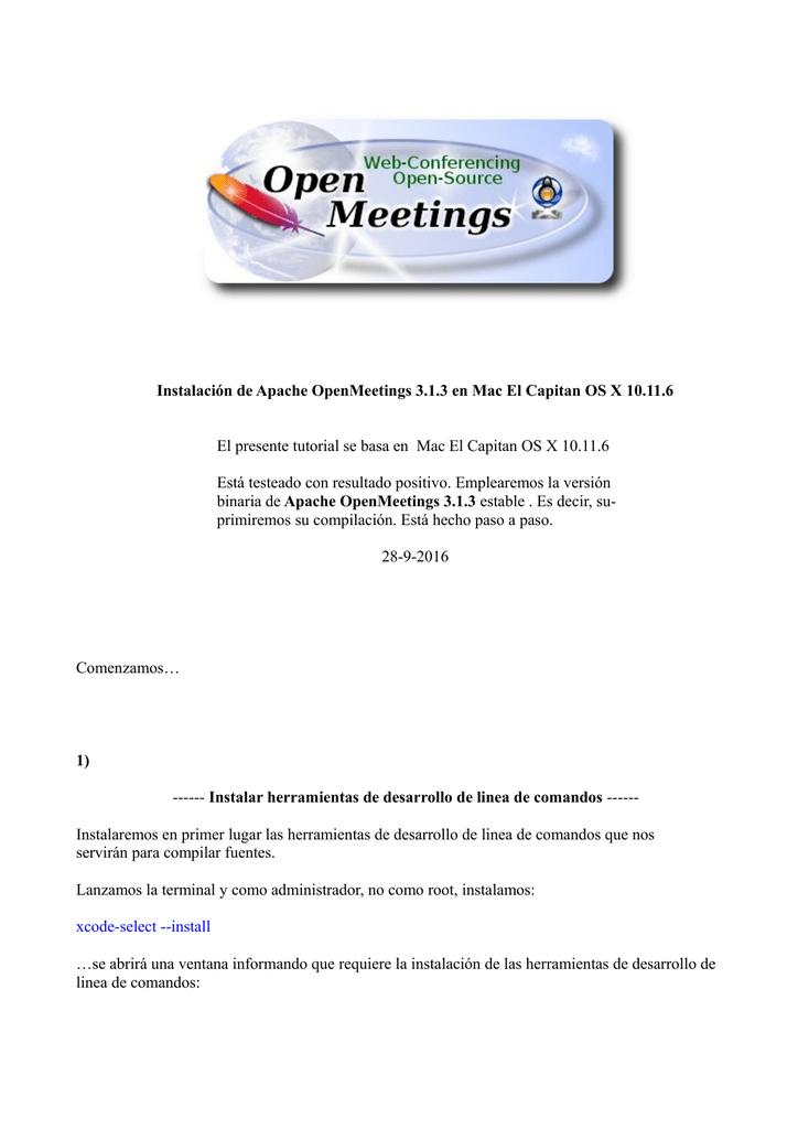 Instalacion OpenMeetings 3 1 x en El Capitan OS X