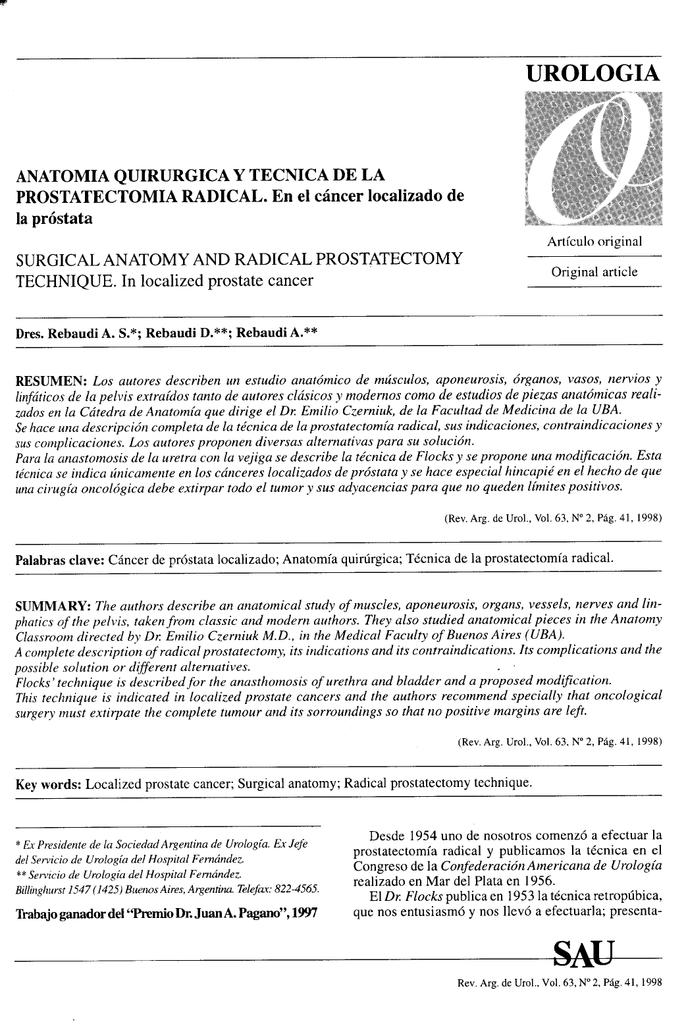 Anatomía quirúrgica y técnica de la prostatectomía radical. En el
