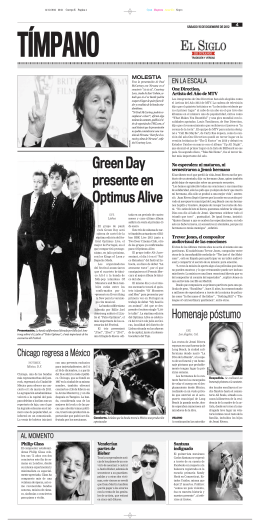 Green Day presente en Optimus Alive