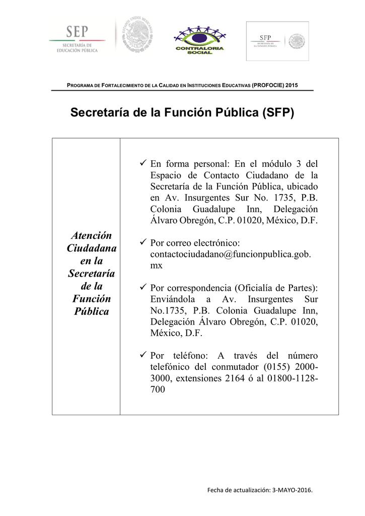 Secretaría De La Función Pública Sfp