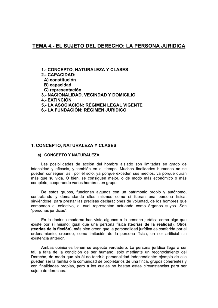 407928a0ca14 tema 4.- el sujeto del derecho: la persona juridica