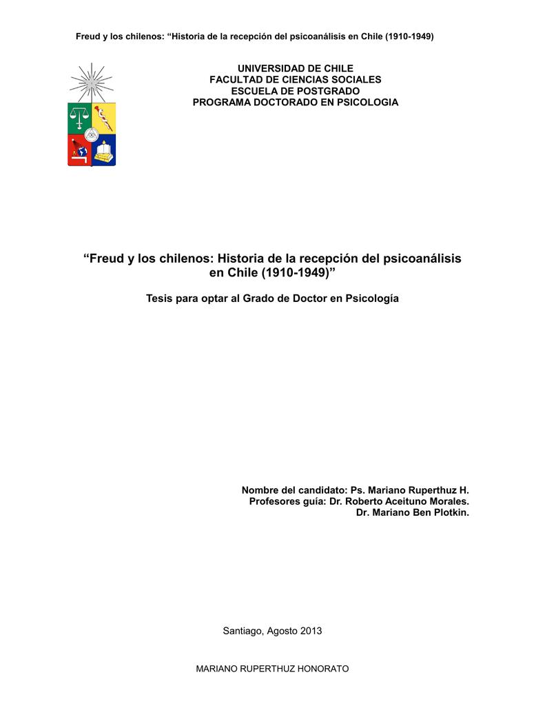 """""""Freud y los chilenos: Historia de la recepción del psicoanálisis en"""