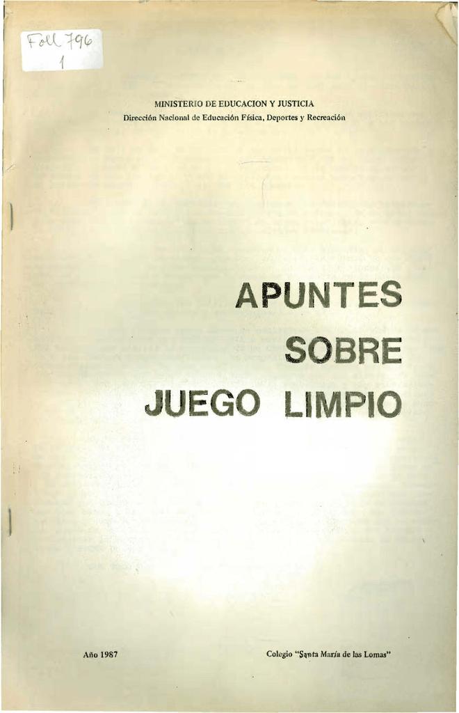 Apuntes Sobre Juego Limpio Biblioteca Nacional De Maestros