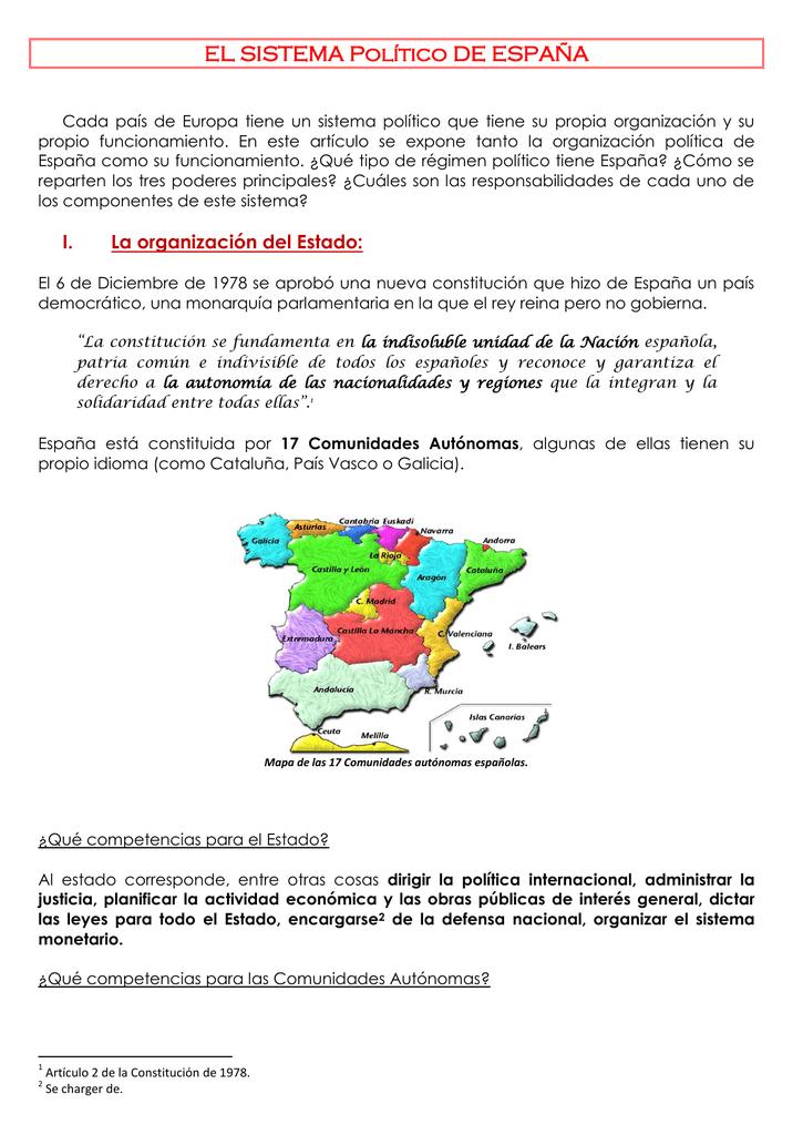 regimen politico de espana