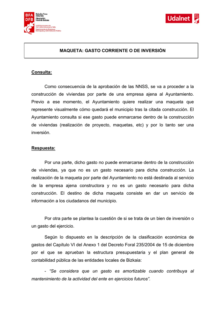 MAQUETA: GASTO CORRIENTE O DE INVERSIÓN Consulta