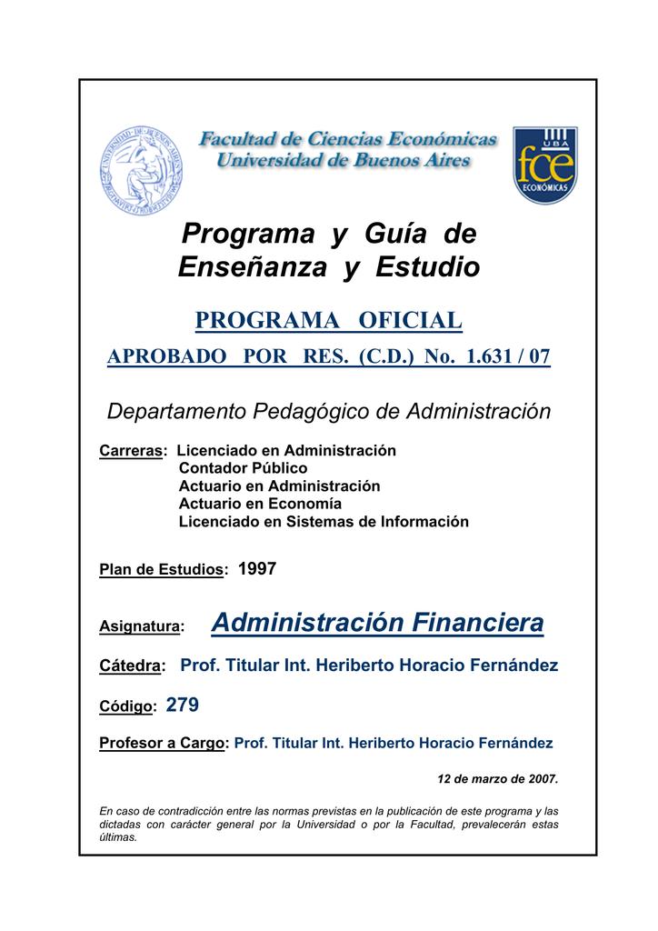 Programa Administración Financiera. Cátedra Heriberto H. Fernández