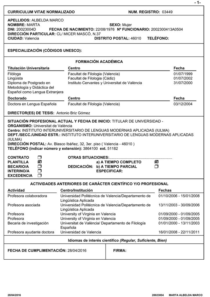 Curriculum Vitae Normalizado Num Registro 03449