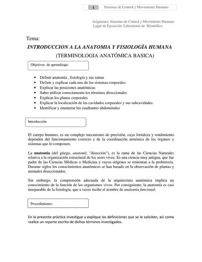 Tema: INTRODUCCION A LA ANATOMIA Y FISIOLOGÍA HUMANA