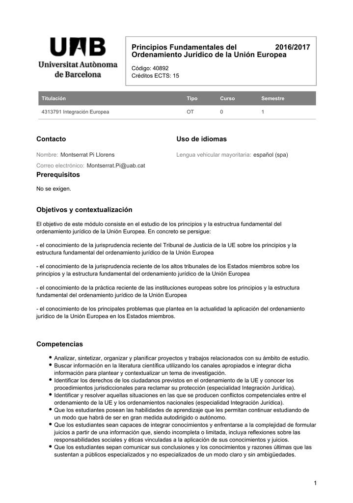 Principios Fundamentales Del Ordenamiento Jurídico De La Unión