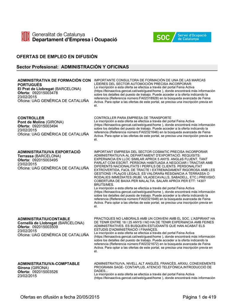 Ofertas difundidas por el Servicio Público de Empleo de CATALUÑA