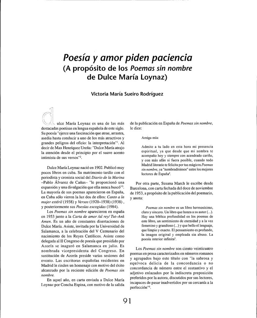 Poesía Y Amor Piden Paciencia