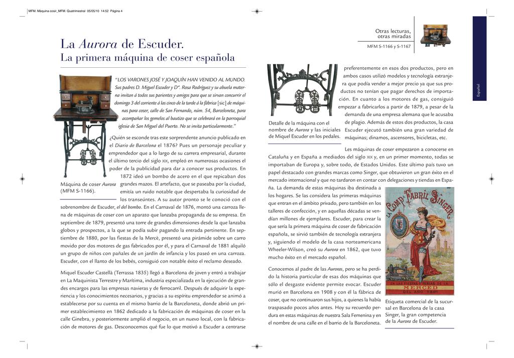 La Aurora de Escuder. La primera máquina de coser española