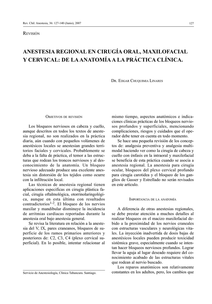 Anestesia Regional en Cirugía Oral, Maxilofacial y Cervical