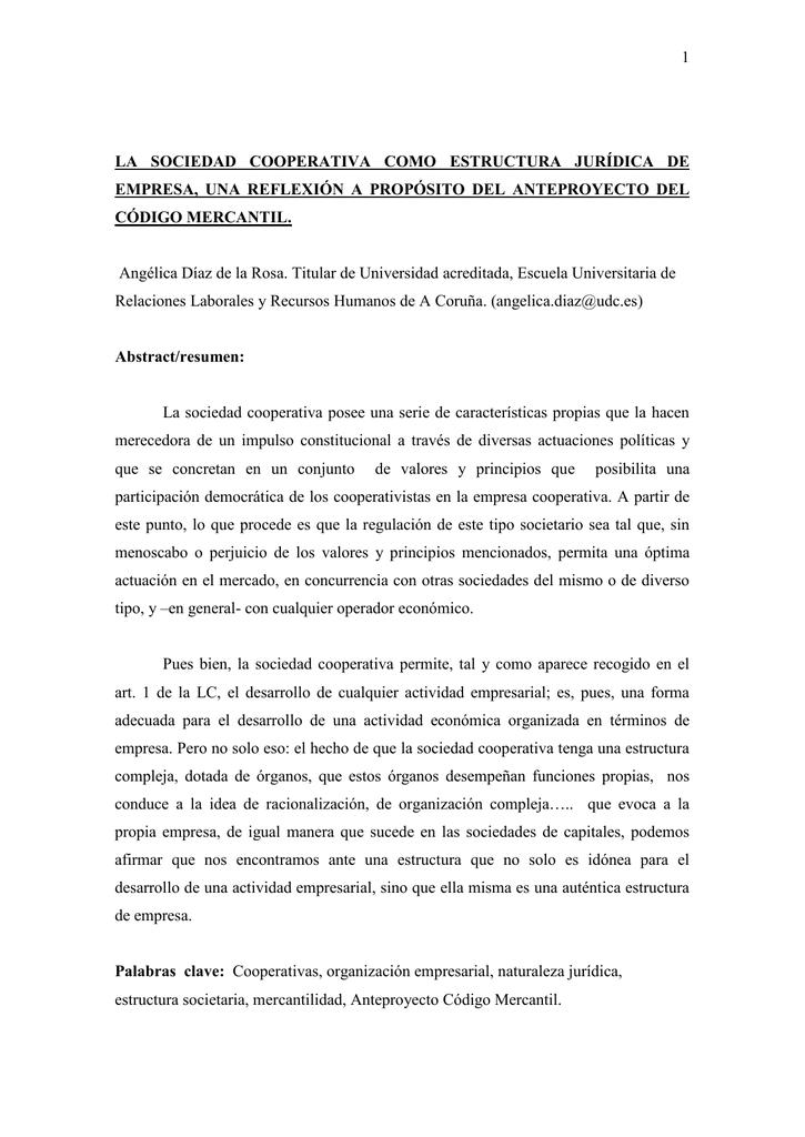 La Sociedad Cooperativa Como Estructura Jurídica De Empresa