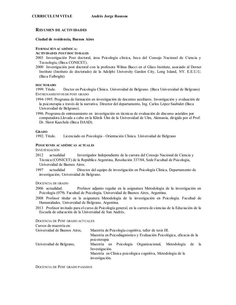 curriculum vitae - Universidad de San Andrés