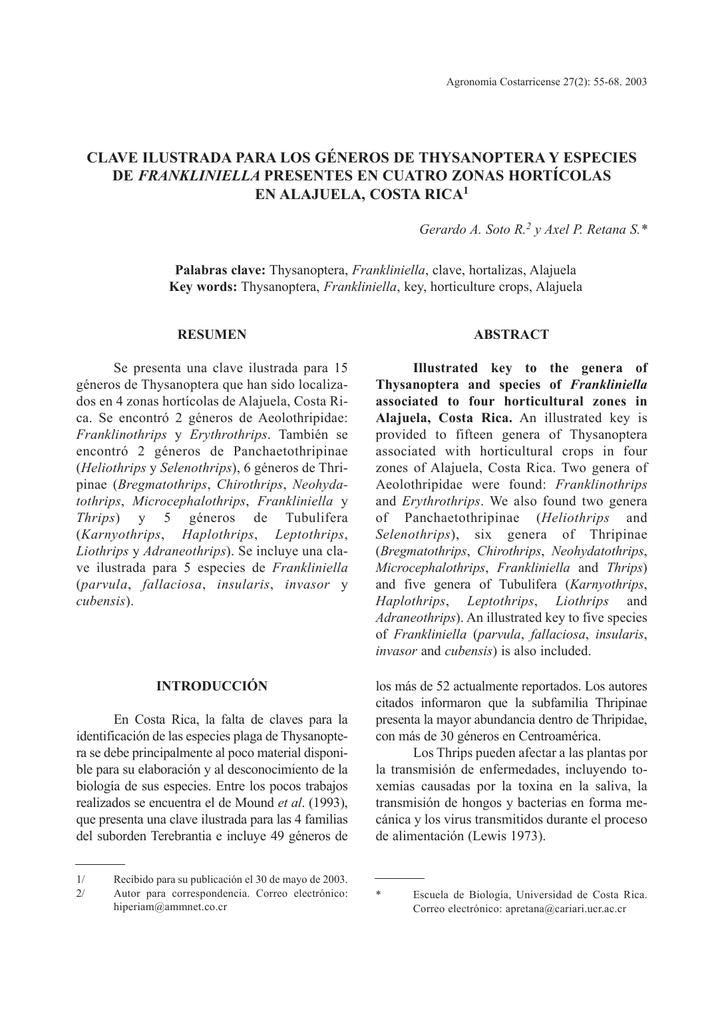 clave ilustrada para los géneros de thysanoptera y especies de