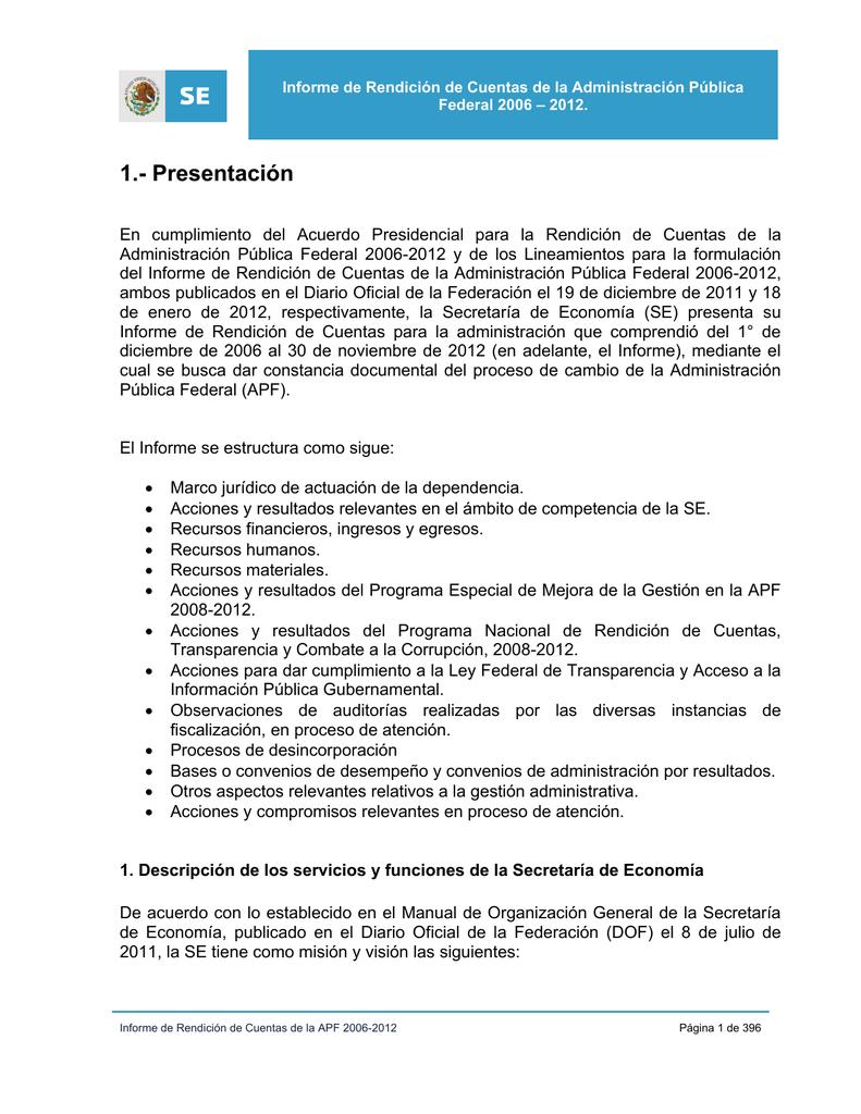 1.- Presentación - Secretaría de Economía