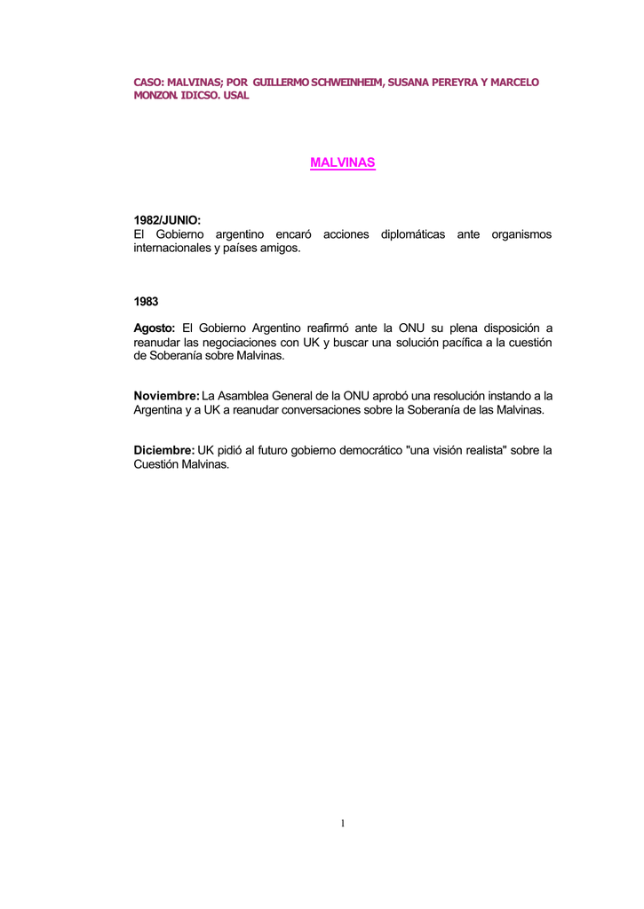 malvinas - Negociación y Proceso de Toma de Decisiones