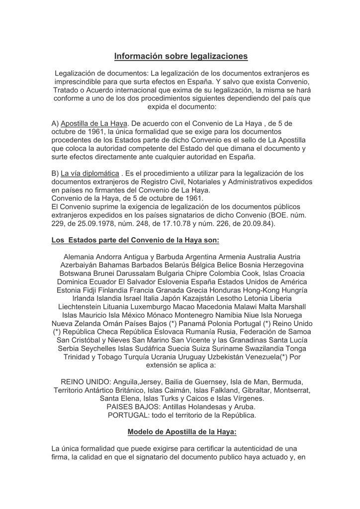 Legalizaciones y Apostilla de la Haya