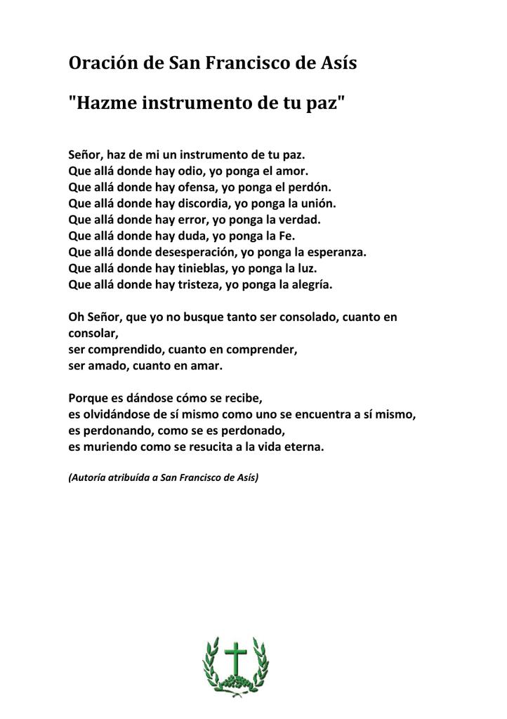 Oracion De San Francisco De Asis Hazme Instrumento De Tu Paz