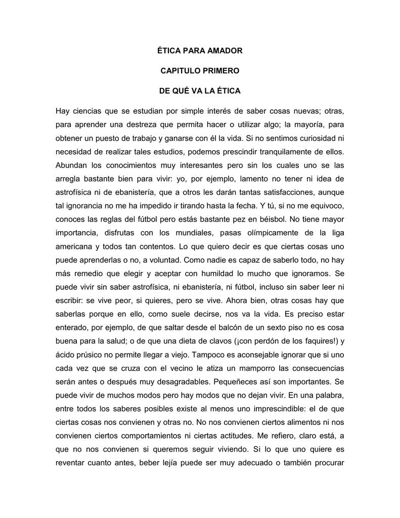 ÉTICA PARA AMADOR CAPITULO PRIMERO DE QUÉ VA LA
