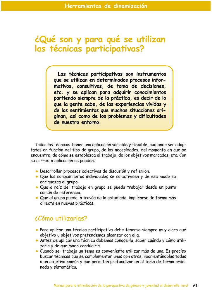 Qué son y para qué se utilizan las técnicas participativas?