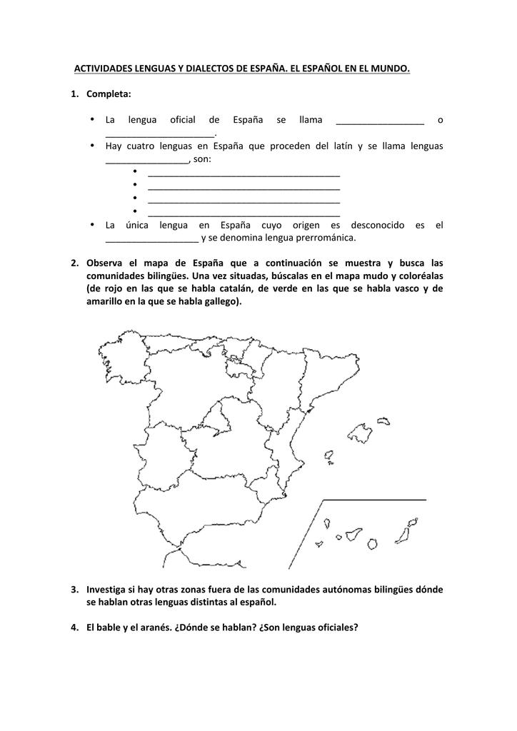 Dialectos De España Mapa.Actividades Lenguas Y Dialectos De Espana