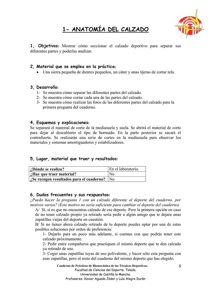 anatomía del calzado - Universidad de Castilla
