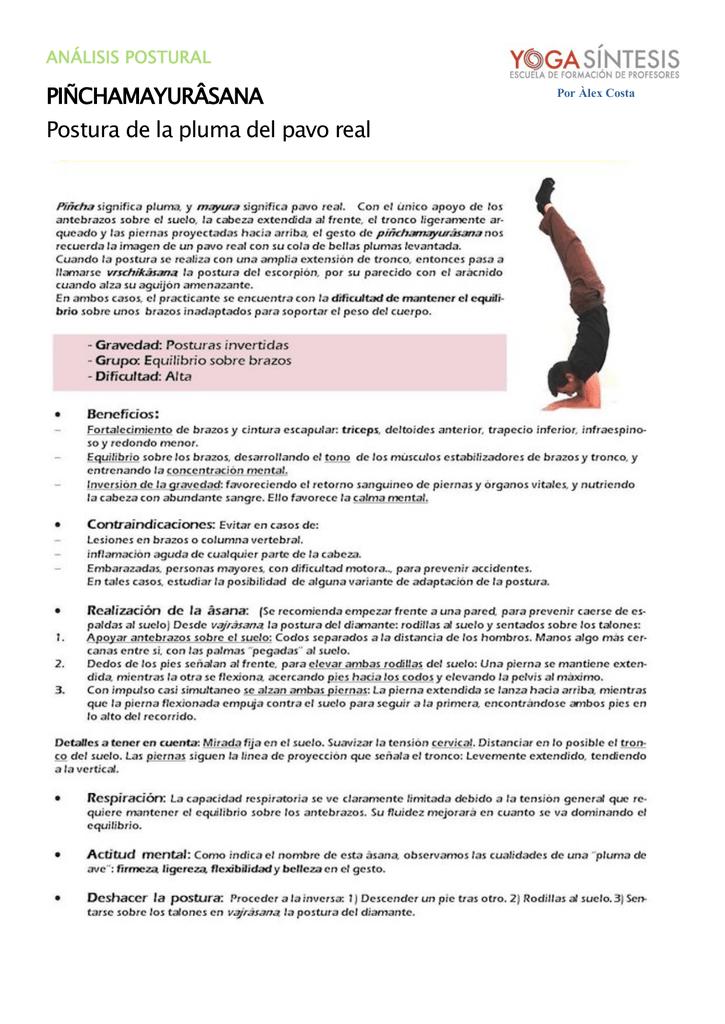 PIÑCHAMAYURÂSANA Postura de la pluma del pavo real