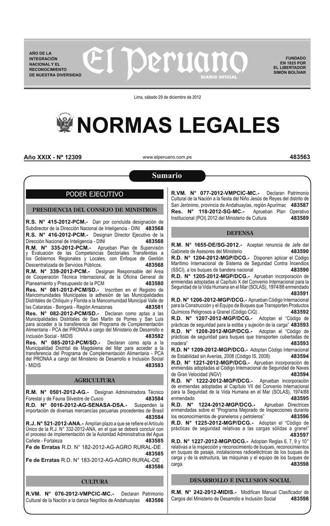 Cuadernillo de Normas Legales