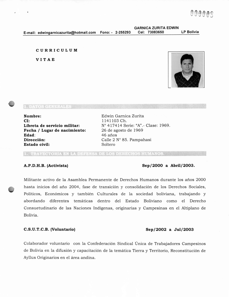 Curriculum Vitae Nombre Ci Libreta De Servicio Militar Fecha
