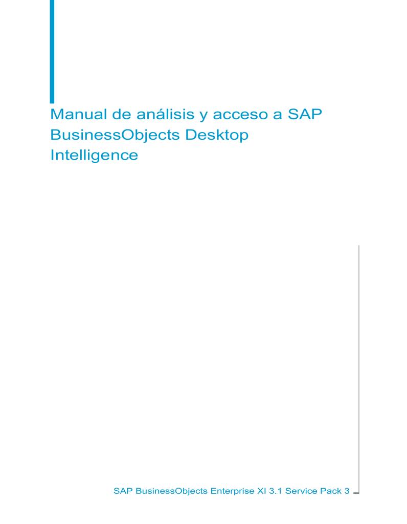 Manual de análisis y acceso a SAP BusinessObjects Desktop