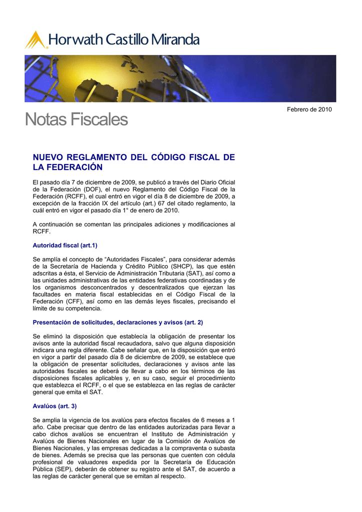 nuevo reglamento del código fiscal de la federación