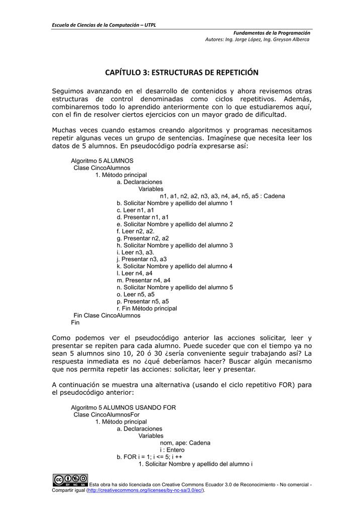 Capítulo 3 Estructuras De Repetición Inicio