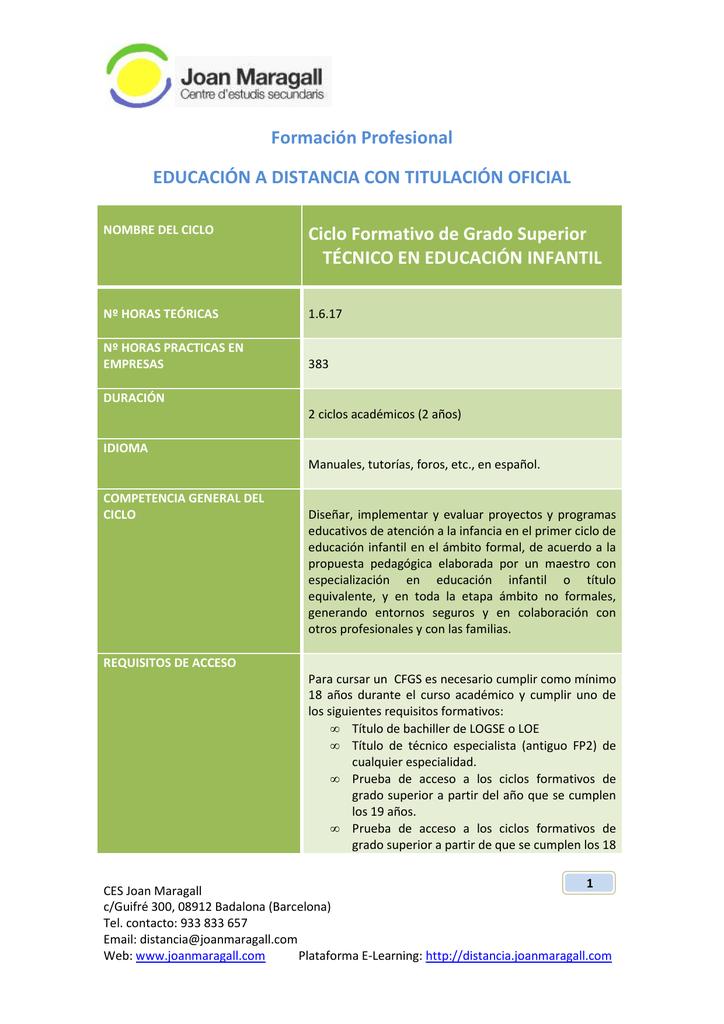 Cfgs Educacion Infantil Joan Maragall Plataforma E