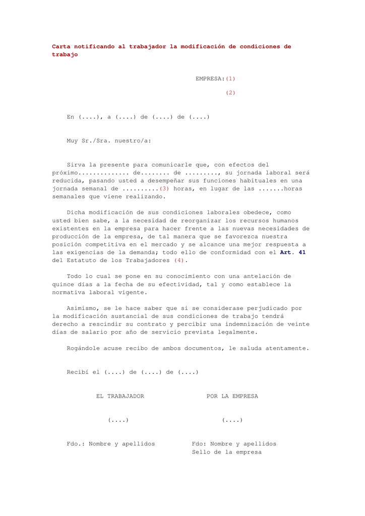 Carta Notificando Al Trabajador La Modificación De