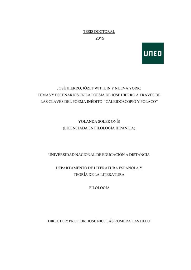 tesis doctoral 2015 josé hierro, józef wittlin y nueva york