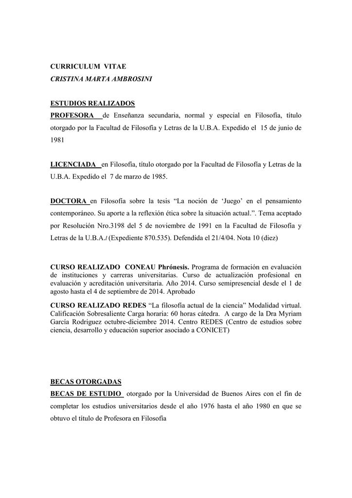 Ver C.V. - Universidad Nacional de Lanús