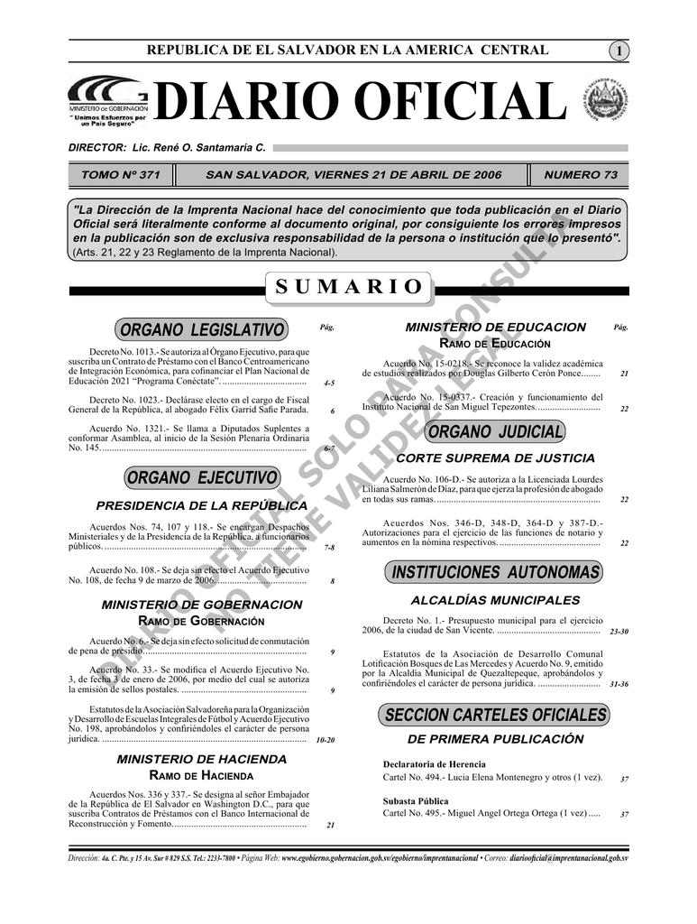 Diario 21 de Abril.indd - Diario Oficial de la República de El Salvador