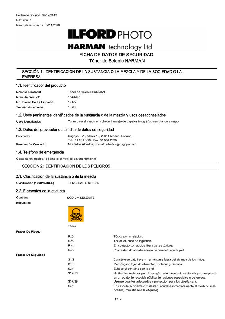 Ficha De Datos De Seguridad Tóner De Selenio