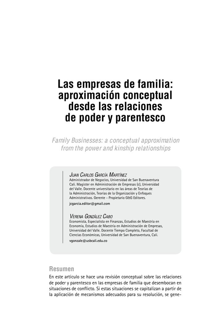 Las empresas de familia - Universidad de San Buenaventura Cali