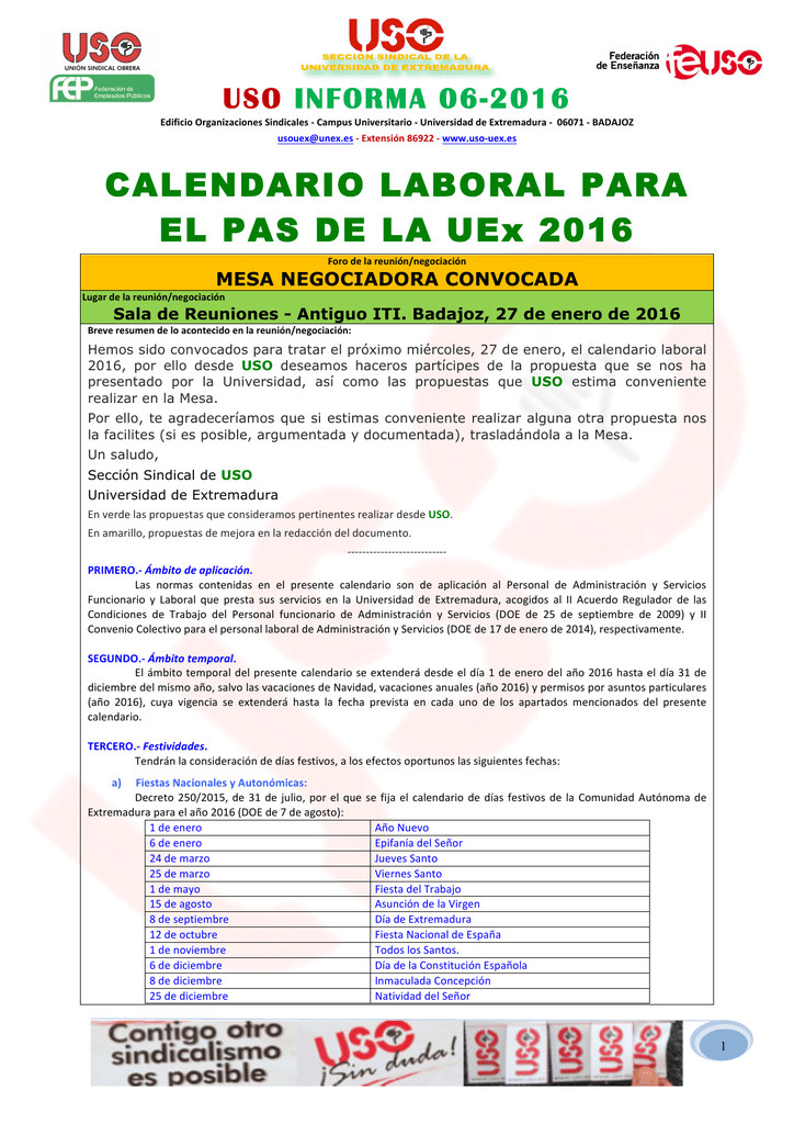 Calendario Uex.Calendario Laboral Para El Pas De La Uex 2016