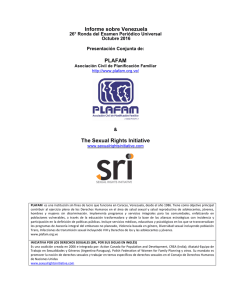 Informe sobre Venezuela PLAFAM The Sexual Rights Initiative